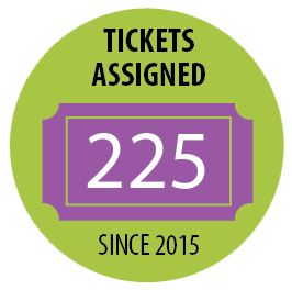 225 TICKETS Assigned since 2015